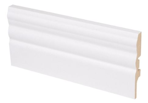 Jalkalista MDF koriste 12x70x2750 mm Uurre valkoinen