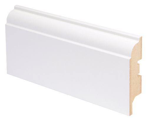 Jalkalista MDF koriste 16x92x2750 mm Koski valkoinen