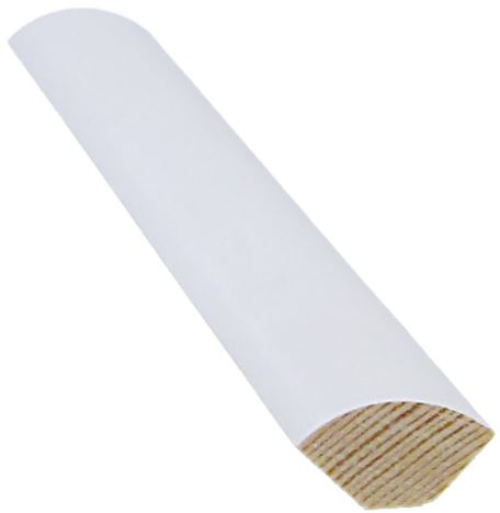 Neljännespyöreä lista 15x15x2400 mm valkoinen