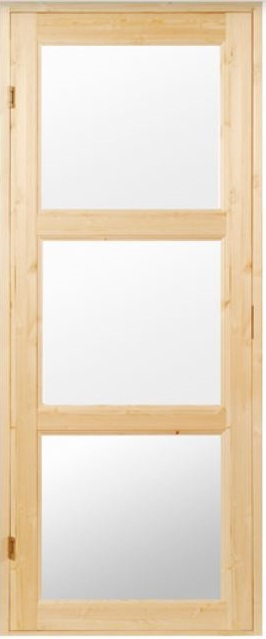 Saunanovi 7x19 3-lasinen kirkas lasi mäntykarmi