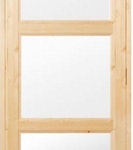 Saunanovi 8x19 3-lasinen kirkas lasi mäntykarmi