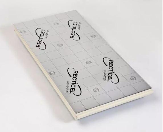 Uretaanilevy Recticel 100x1200x2400 mm alumiinipintainen ympäripontattu